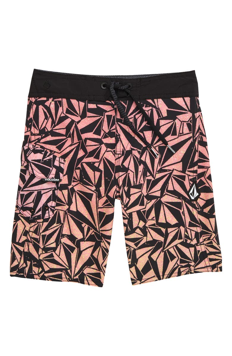 VOLCOM Confetti Stones Mod Board Shorts, Main, color, PURPLE GLITCH