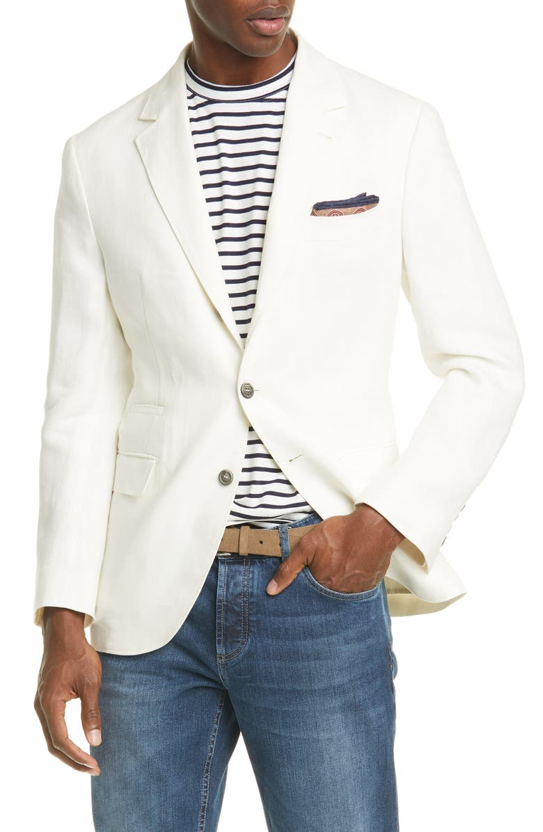 BRUNELLO CUCINELLI Trim Fit Solid Linen Sport Coat, Main, color, WHITE