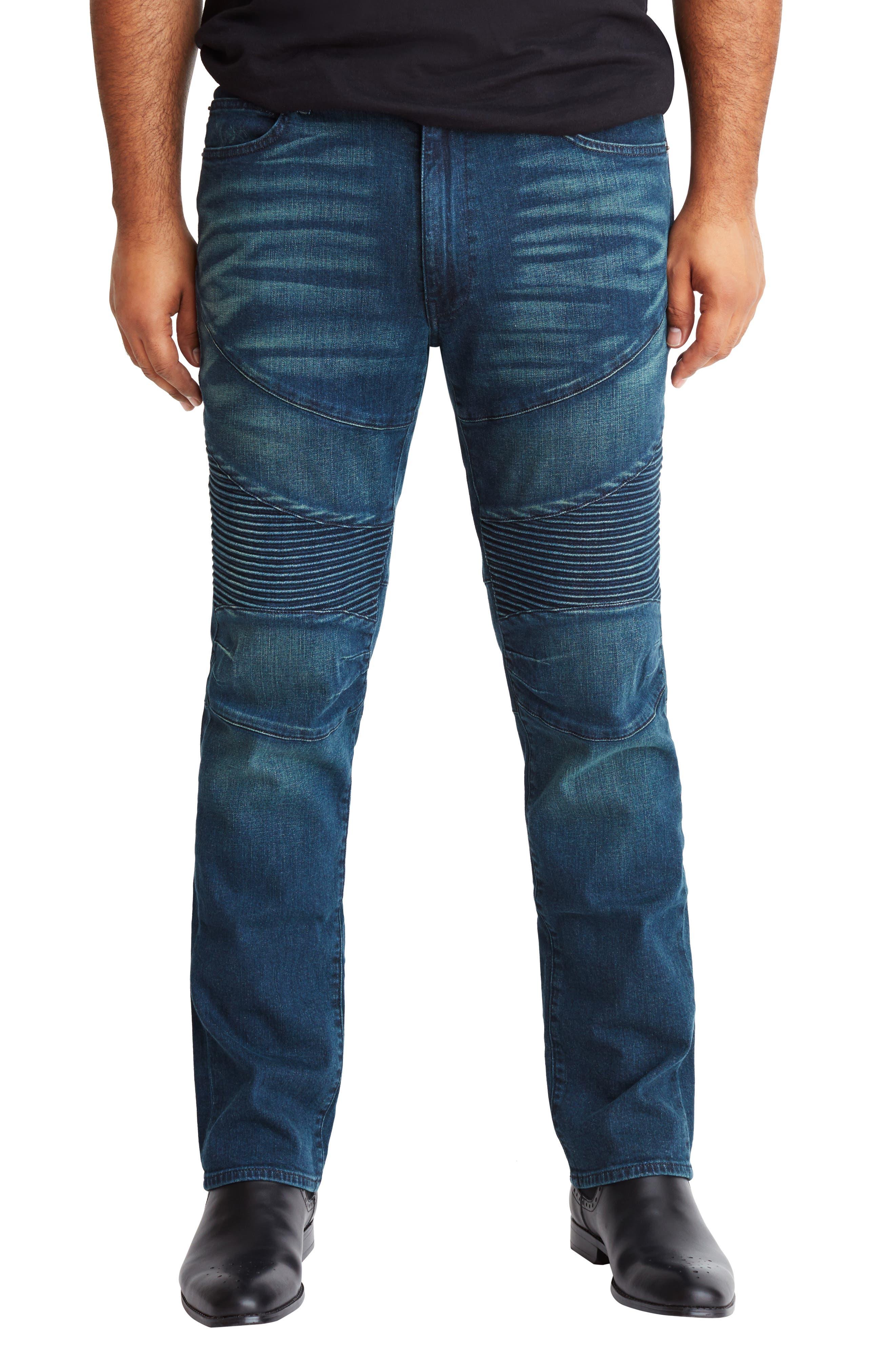 Straight Leg Biker Jeans