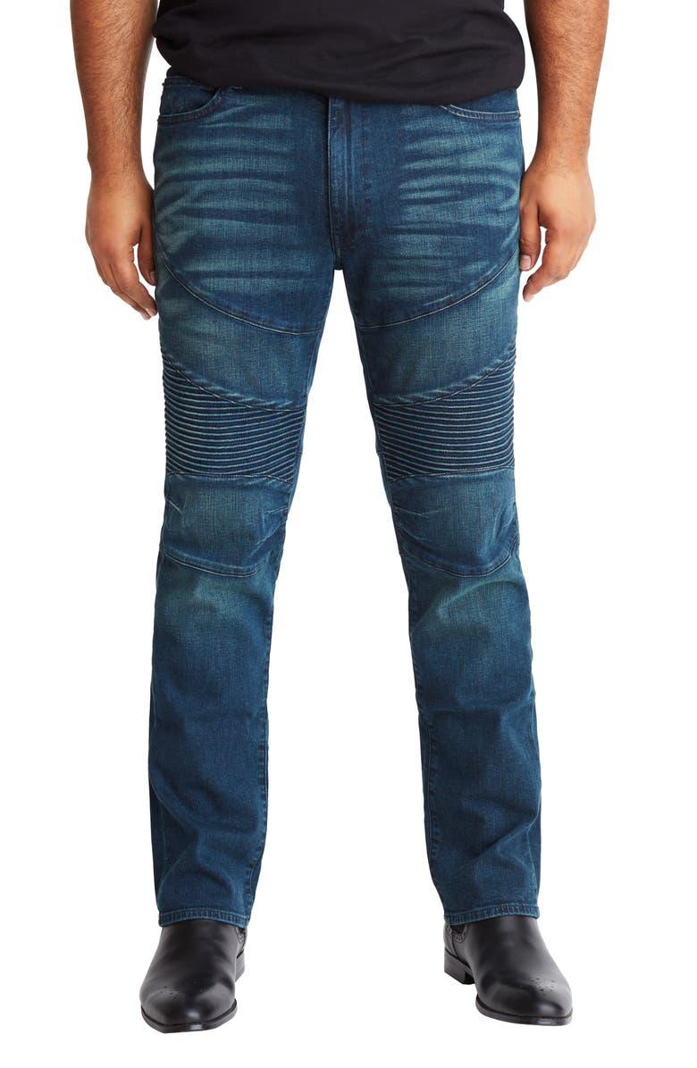 MVP COLLECTIONS Straight Leg Biker Jeans, Main, color, MEDIUM VINTAGE WASH