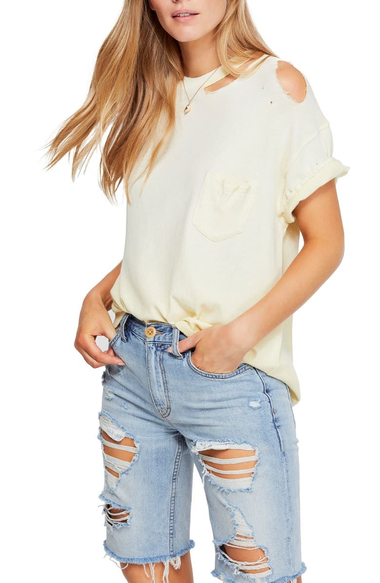 FREE PEOPLE Lucky Distressed Tee, Main, color, YELLOW