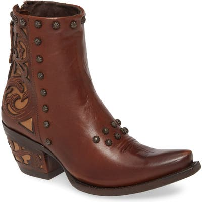 Aria Diva Studded Western Boot- Brown