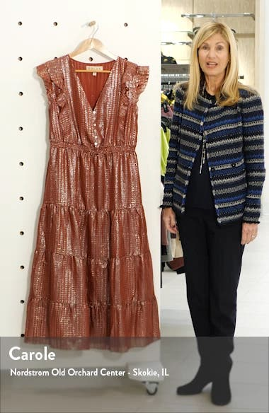 Sawyer Metallic Silk Midi Dress, sales video thumbnail