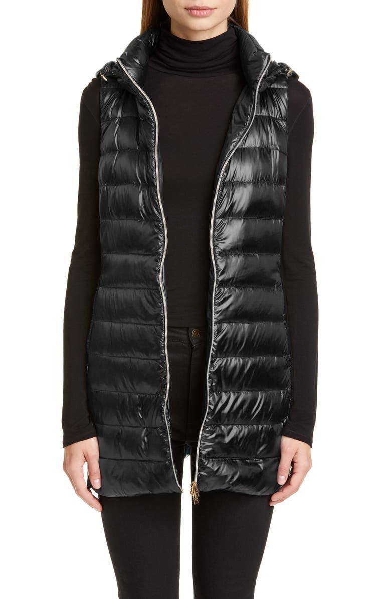 HERNO Long Fitted Down Vest with Removable Hood, Main, color, BLACK