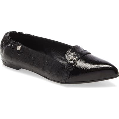 Agl Buckle Detail Pointed Toe Ballet Flat, Black