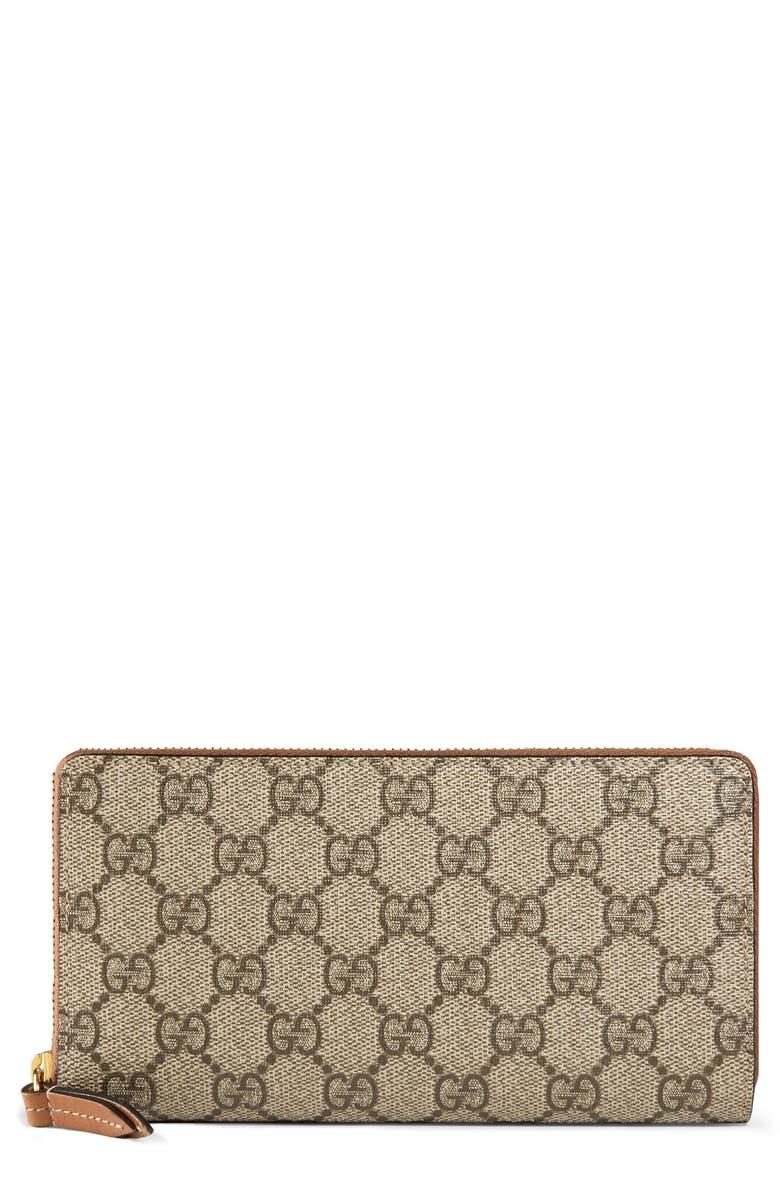 GUCCI GG Supreme Zip Around Canvas Wallet, Main, color, BEIGE/EBONY/CUIR
