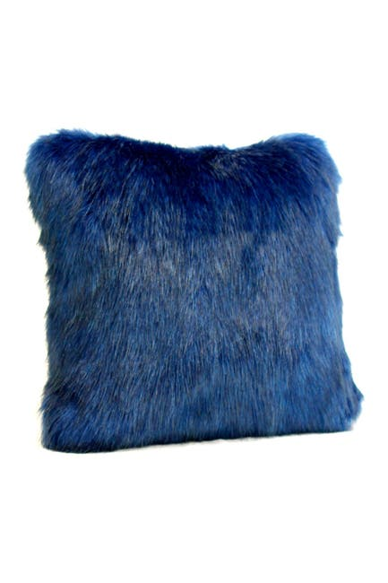 "Image of DONNA SALYERS FABULOUS FURS Sapphire Faux Fur Throw Pillow - 18"" x 18"""