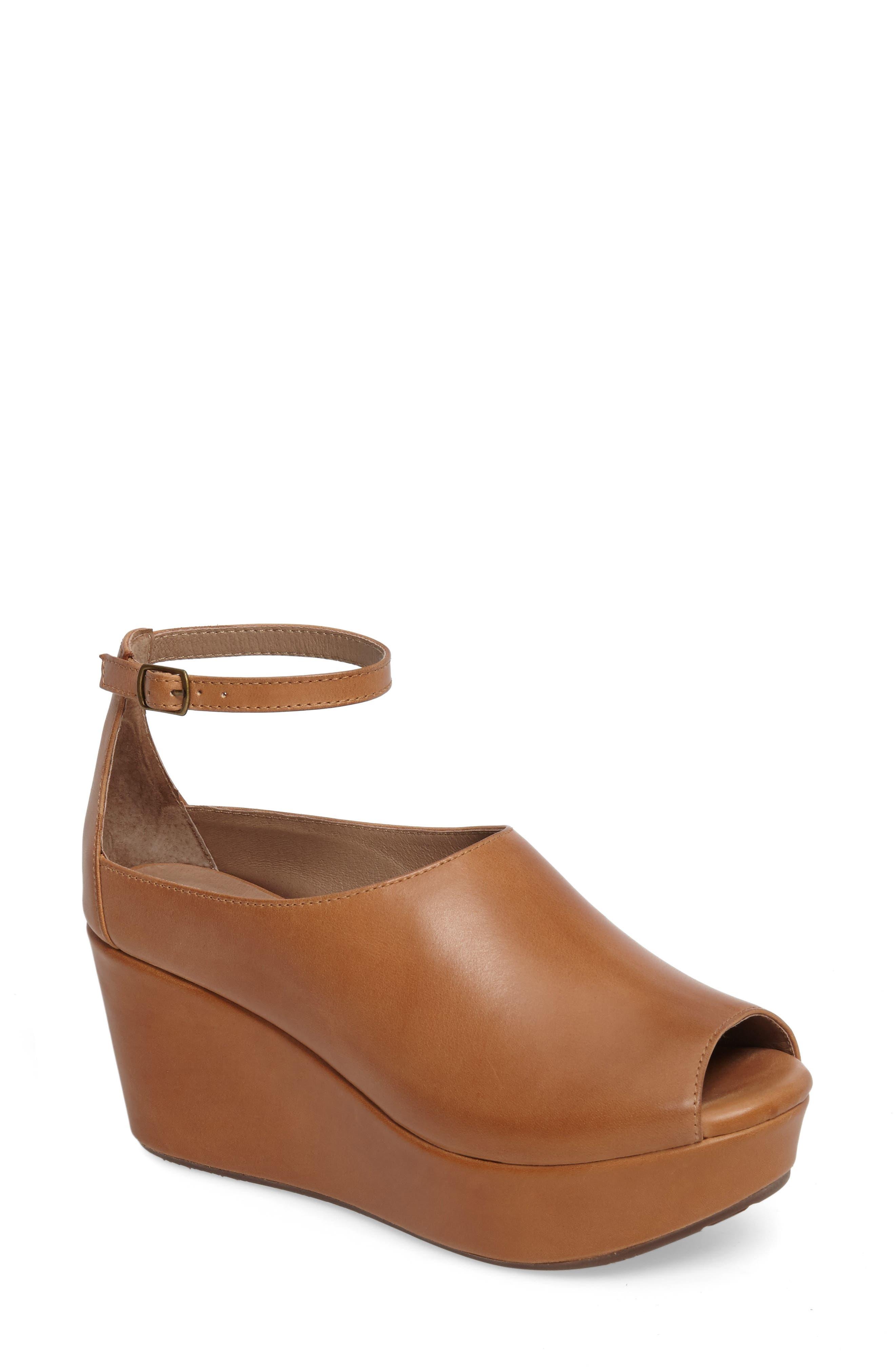 Chocolat Blu Walter Ankle Strap Wedge Sandal- Brown