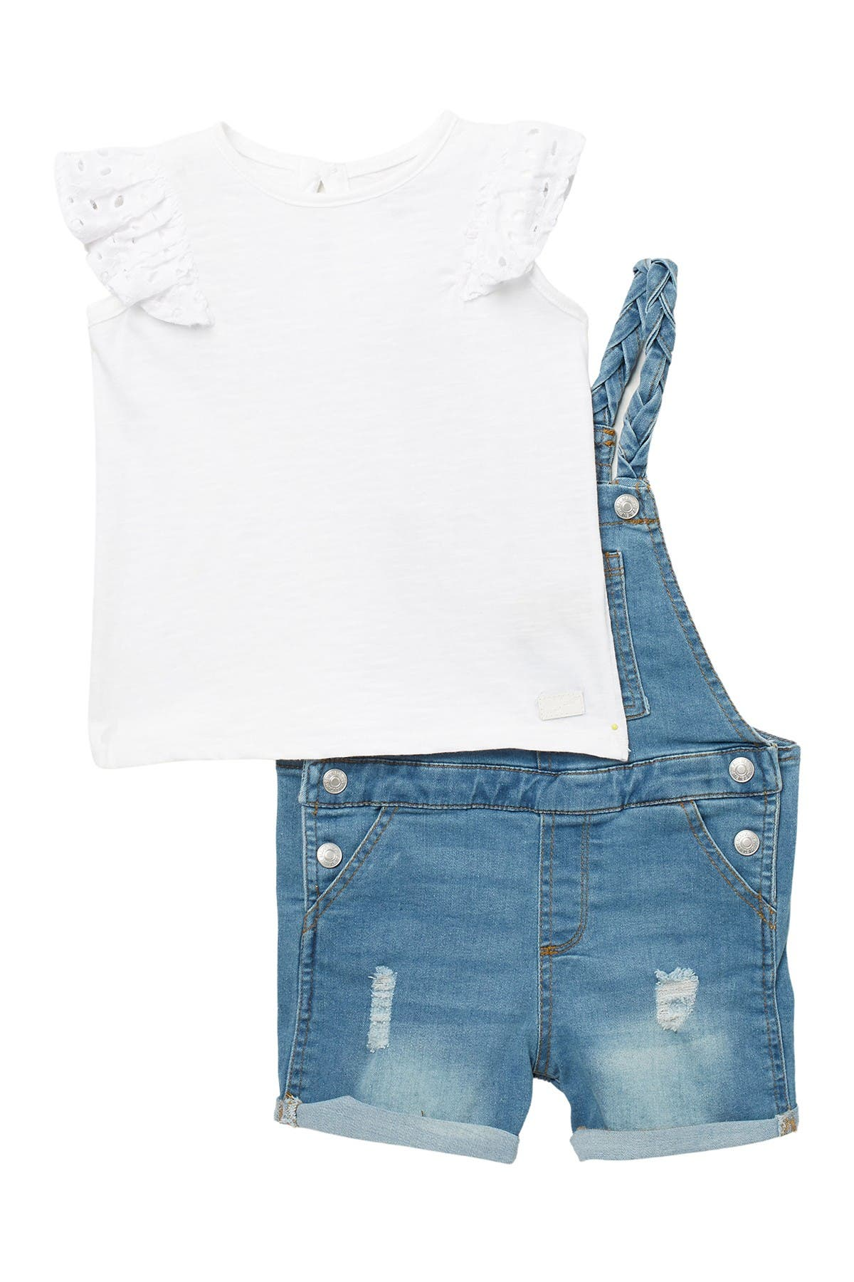 Image of 7 For All Mankind Ruffle Top & Denim Overalls Set