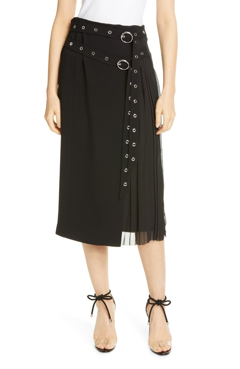 CINQ À SEPT Tess Grommet Double Belt Crepe Midi Skirt, Main, color, 001