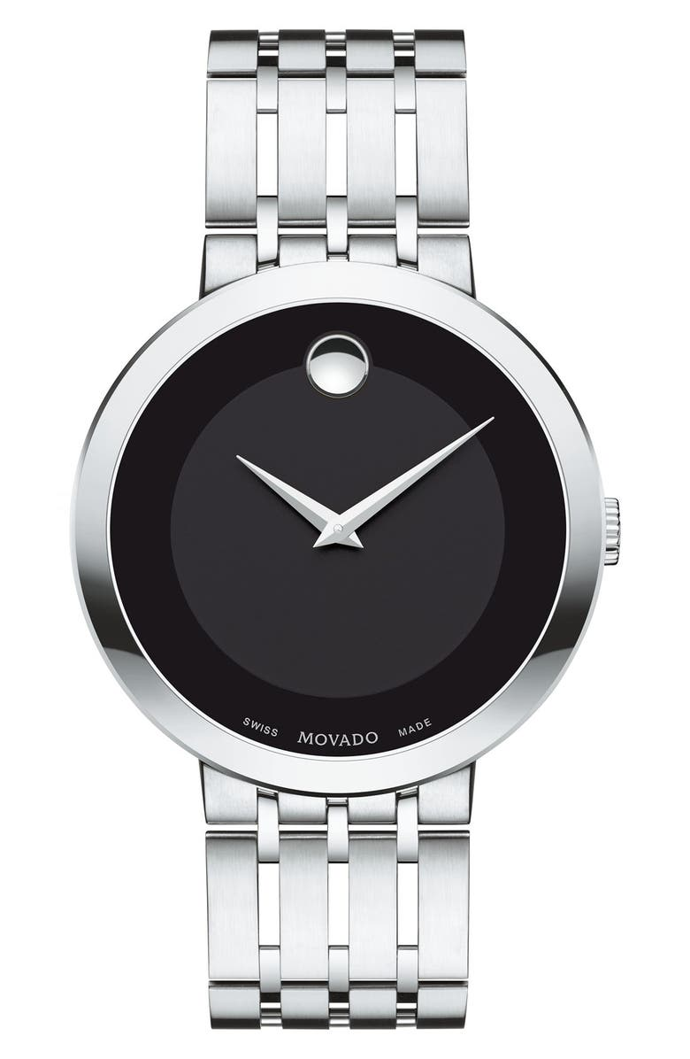 MOVADO 'Esperanza' Bracelet Watch, 39mm, Main, color, SILVER/ BLACK