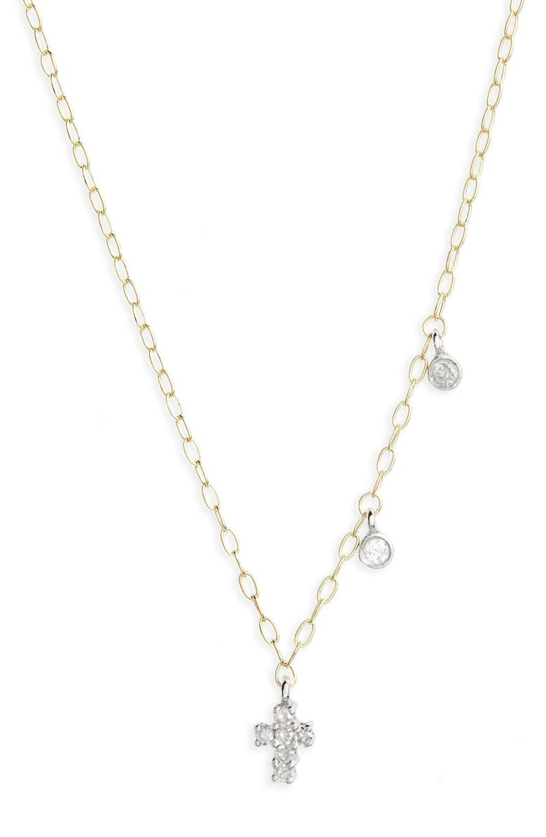 MEIRA T Diamond Cross Pendant Necklace, Main, color, YELLOW GOLD/ WHITE GOLD