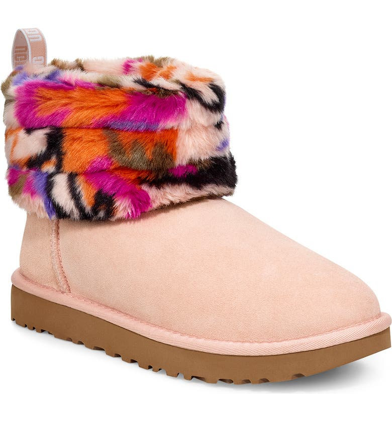UGG<SUP>®</SUP> Classic Mini Fluff Quilted Boot, Main, color, MULTI SUEDE