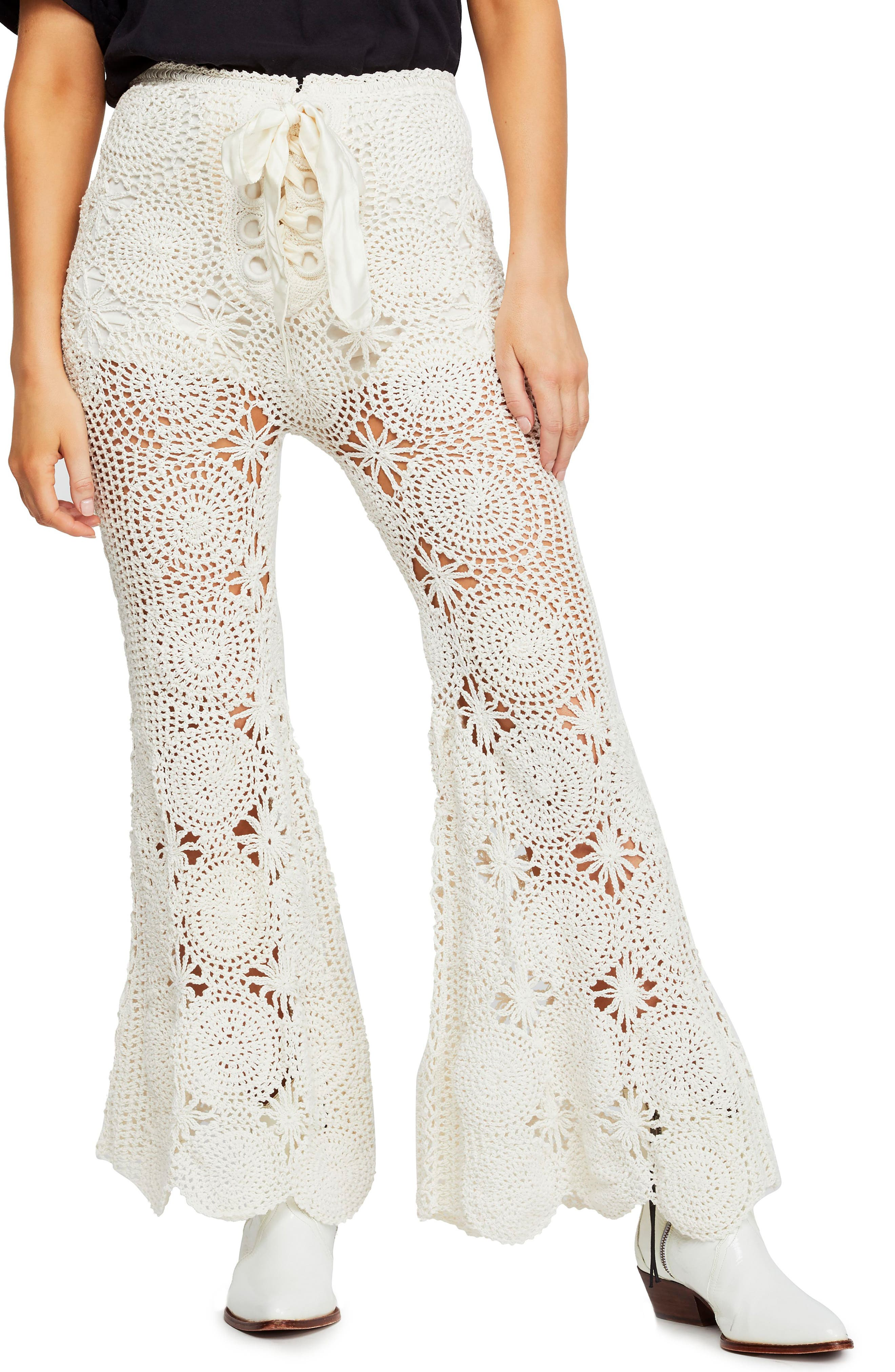 Vintage High Waisted Trousers, Sailor Pants, Jeans Womens Free People Crochet Lace Flare Pants Size X-Small - Ivory $148.80 AT vintagedancer.com