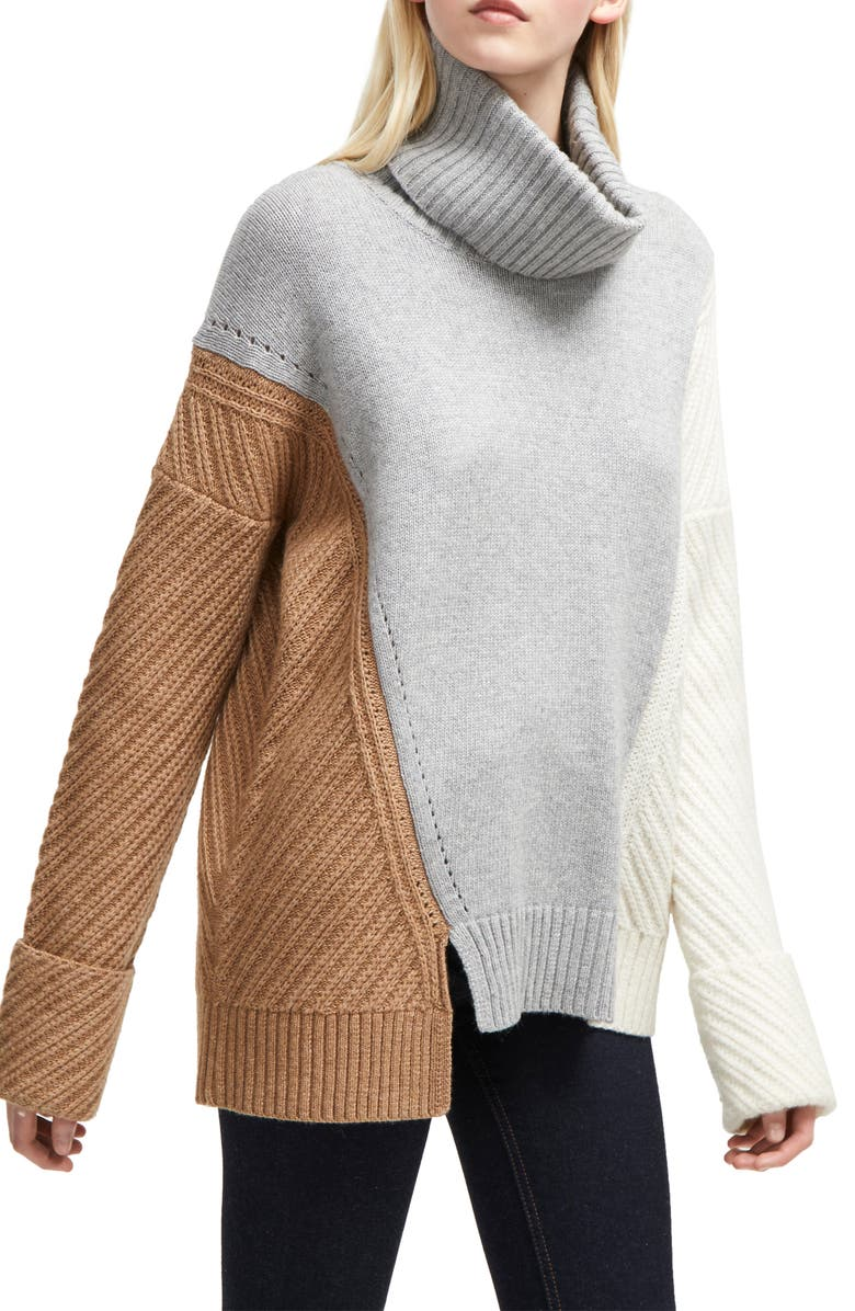 FRENCH CONNECTION Viola Recut Turtleneck Sweater, Main, color, CAMEL/ GREY/ WHITE