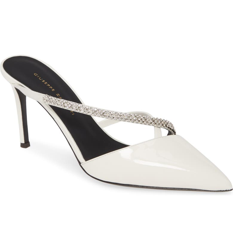 GIUSEPPE ZANOTTI Embellished Asymmetric Mule, Main, color, WHITE