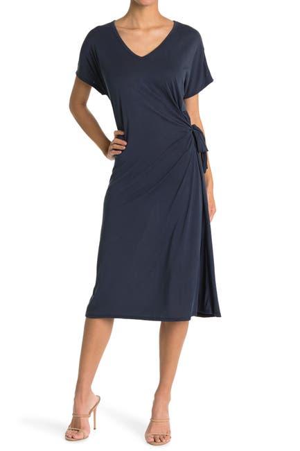 Image of KENEDIK Cupro Jersey Side Tie Midi Dress