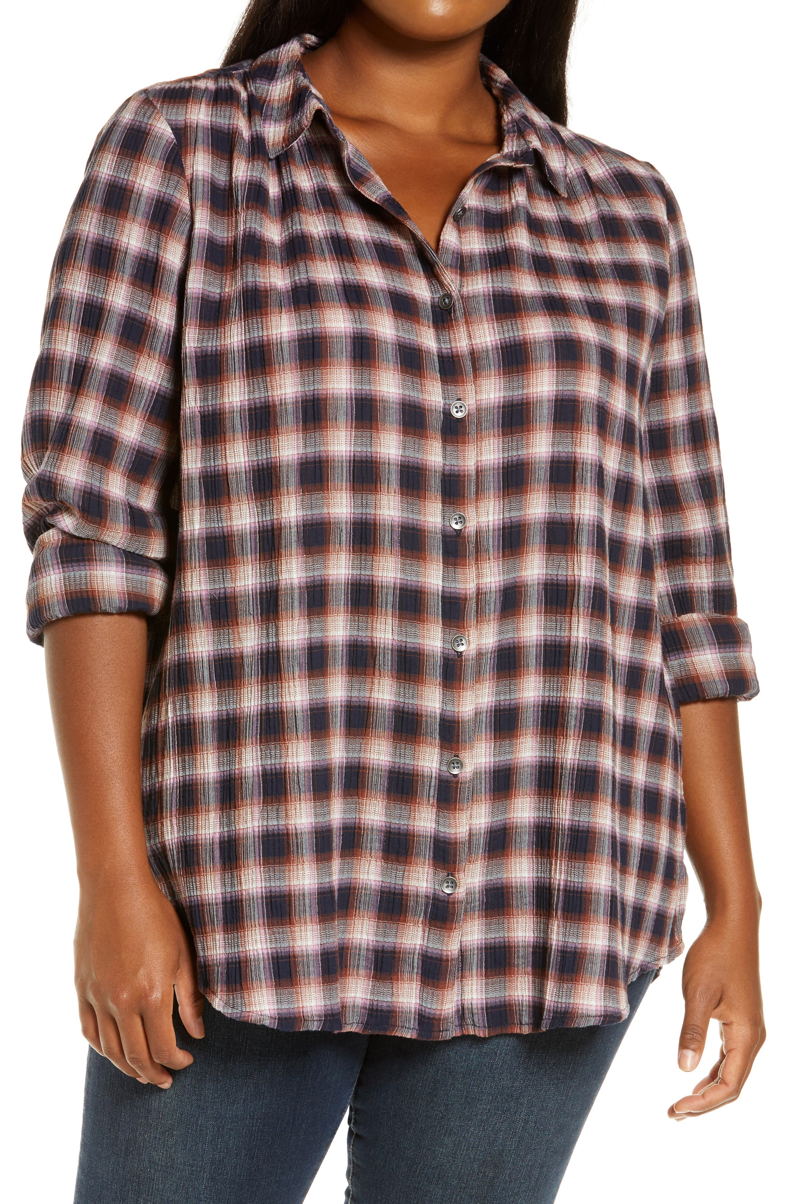 Weekend plaid is perfected in this tunic-length shirt of soft twill with a cozy crimped texture. Style Name: Caslon Plaid Tunic Shirt (Plus Size). Style Number: 5622283. Available in stores.