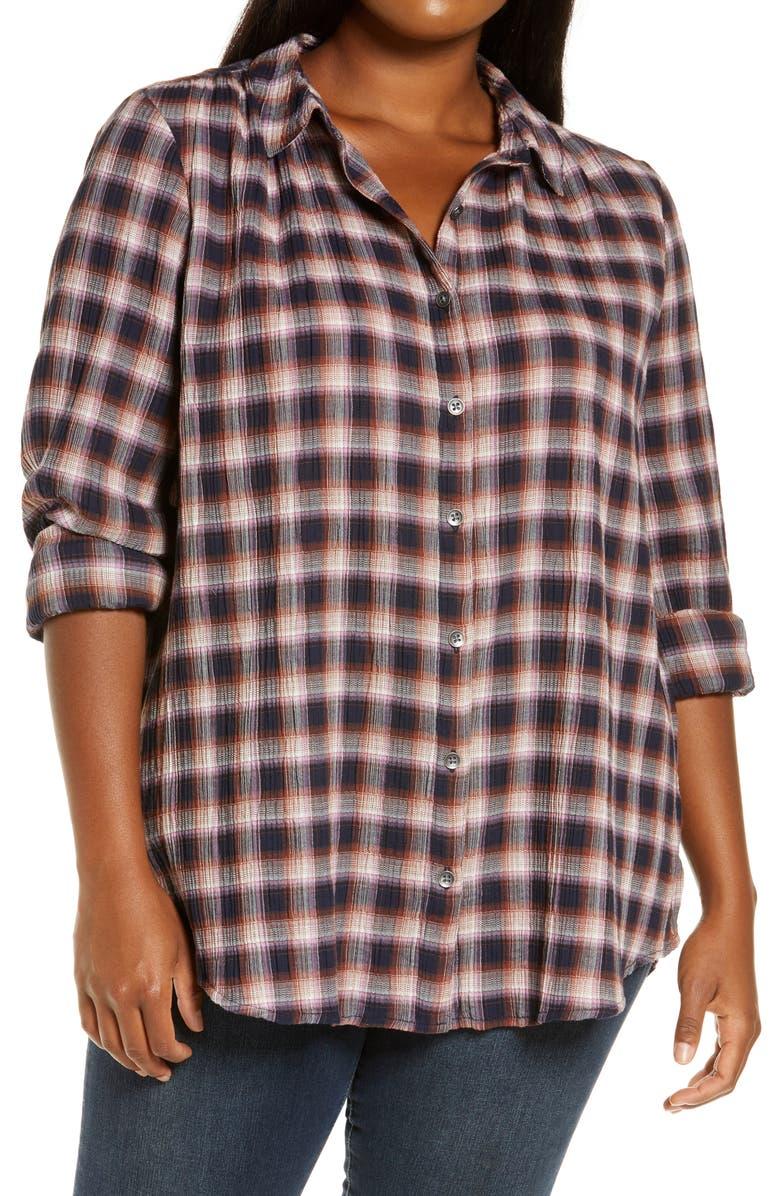 CASLON<SUP>®</SUP> Plaid Tunic Shirt, Main, color, NAVY- PINK PLAID