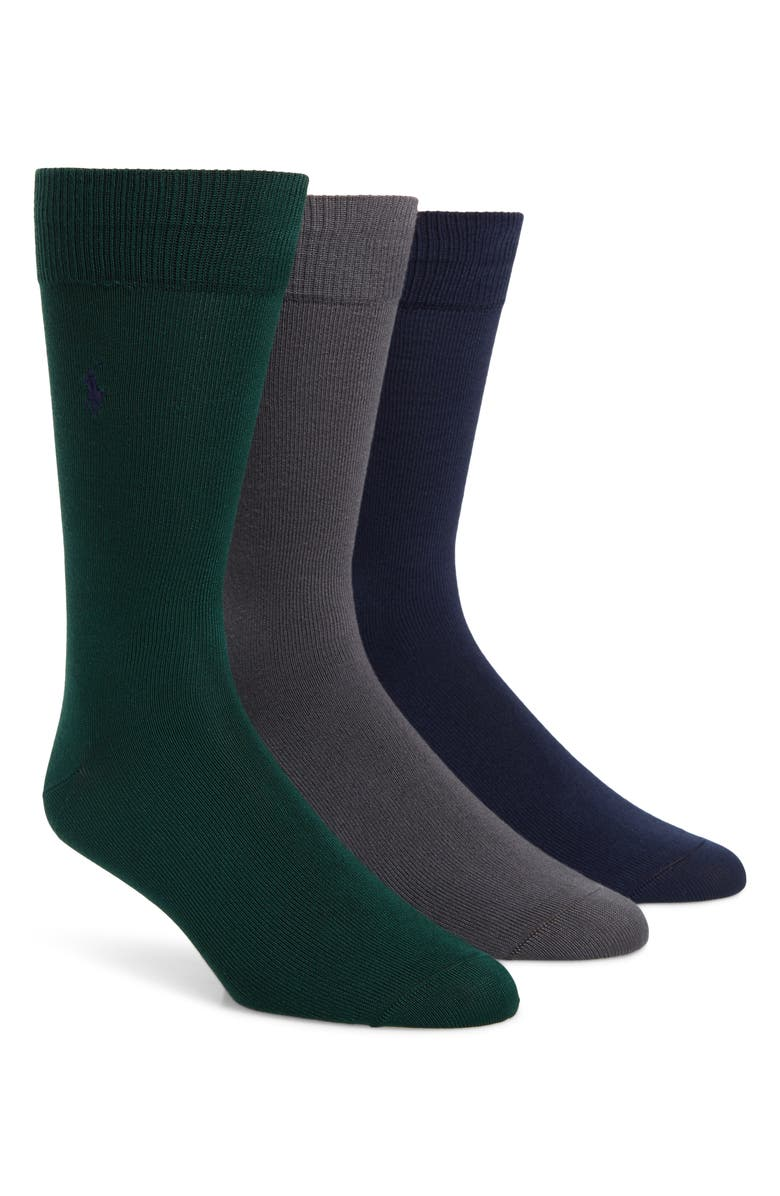POLO RALPH LAUREN Assorted 3-Pack Supersoft Socks, Main, color, FOREST