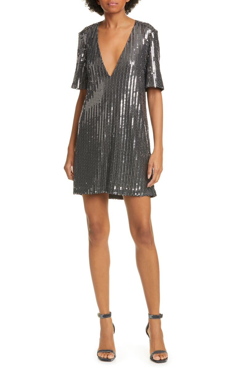 CAMI NYC The Aidy Sequin Minidress, Main, color, IRON