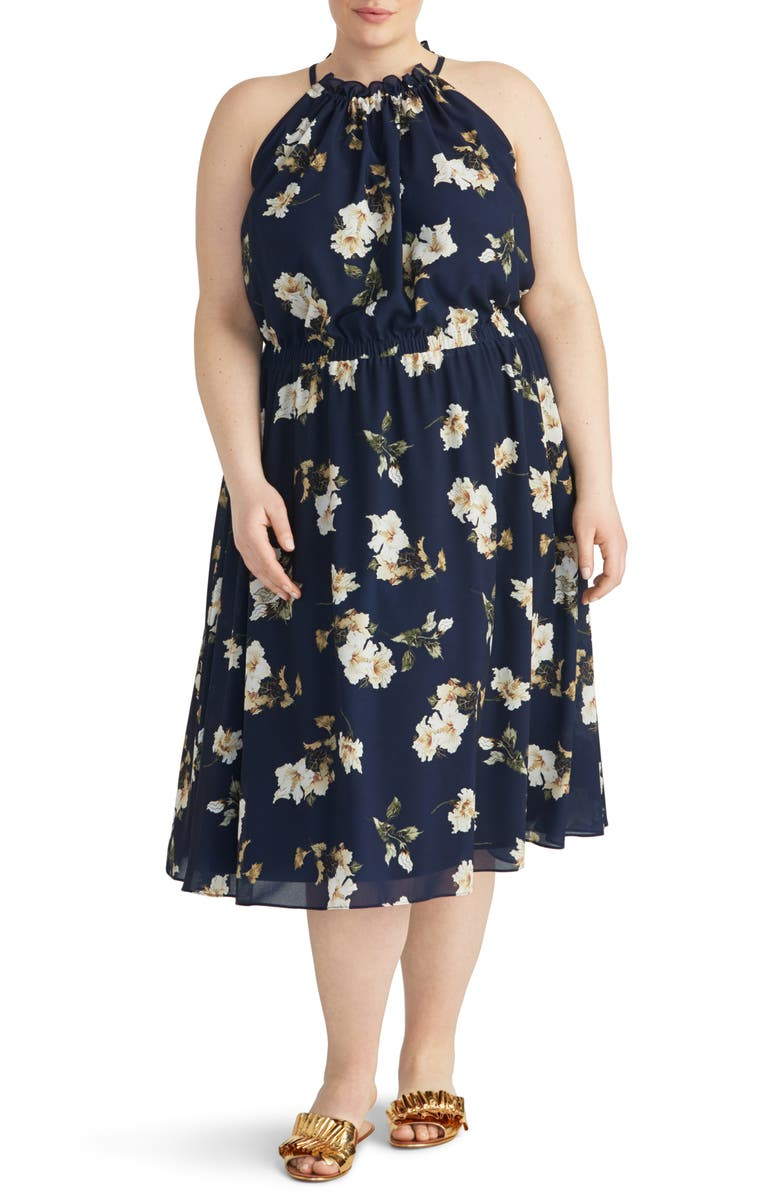 Rachel Roy Collection Cinch Floral Midi Dress Plus Size