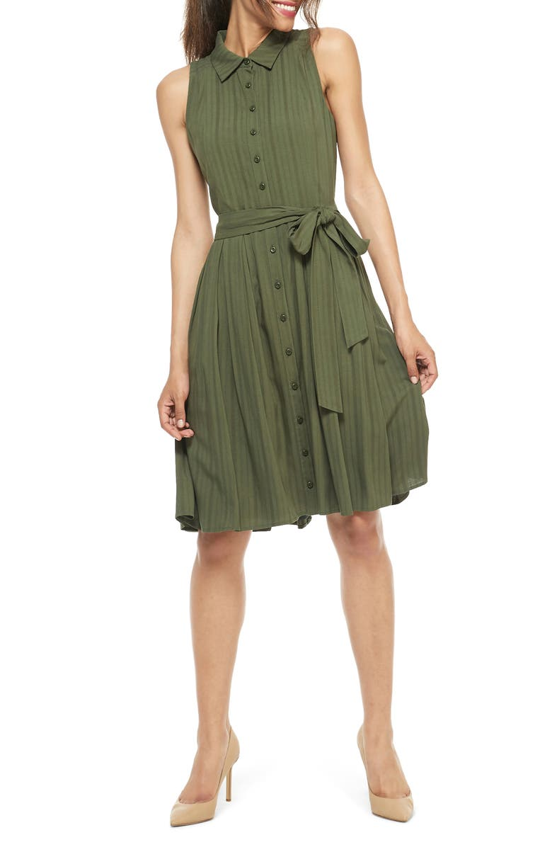 GAL MEETS GLAM COLLECTION Gwen Button Front Smocked Back Shirtdress, Main, color, ELM