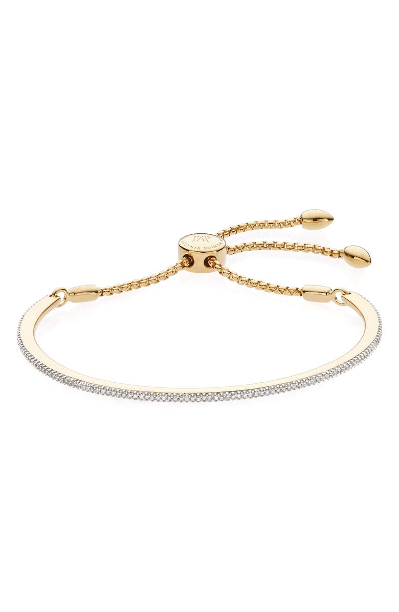 MONICA VINADER Fiji Skinny Vermeil Diamond Bar Bracelet, Main, color, GOLD