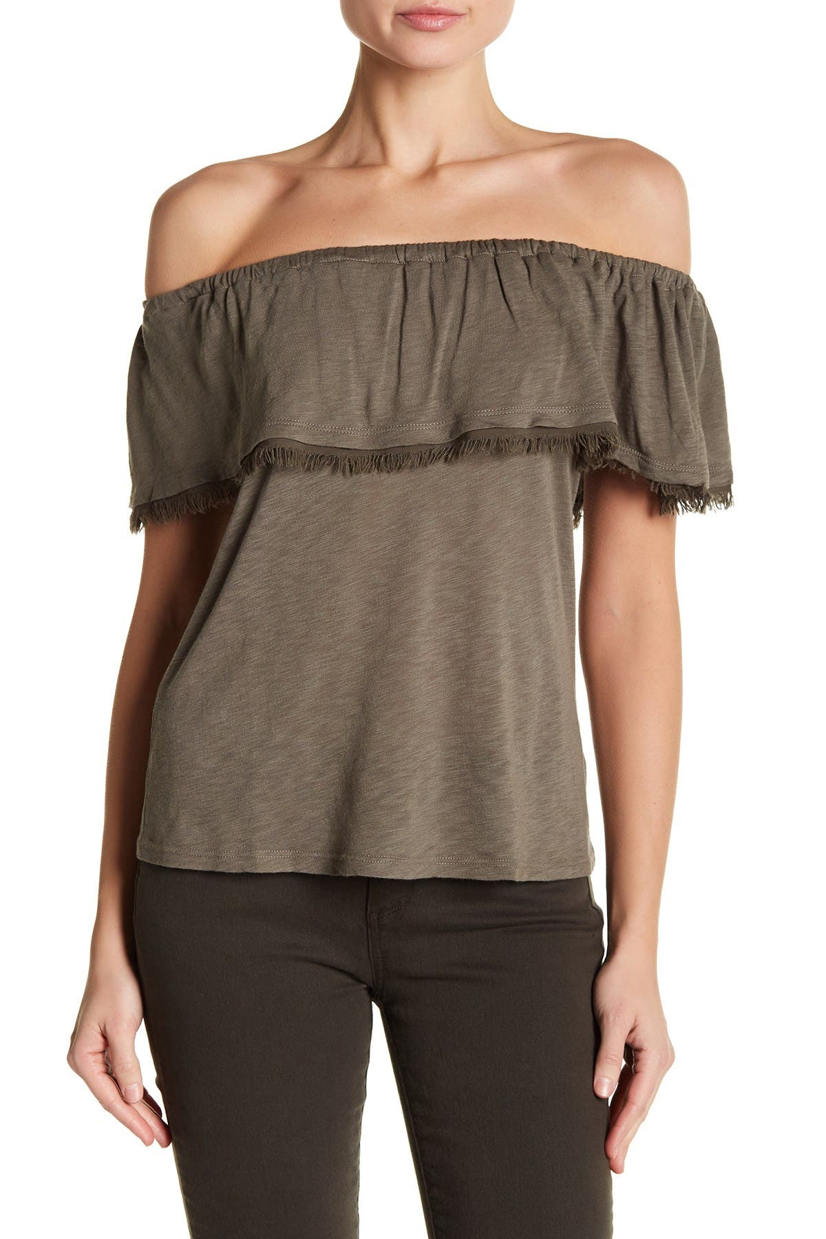 Image of Splendid Off the Shoulder Ruffle Top