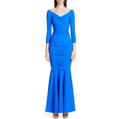 Chiara Boni La Petite Robe Zurlita Ruched Body-Con Mermaid Gown, 8 US / 54 IT - Blue
