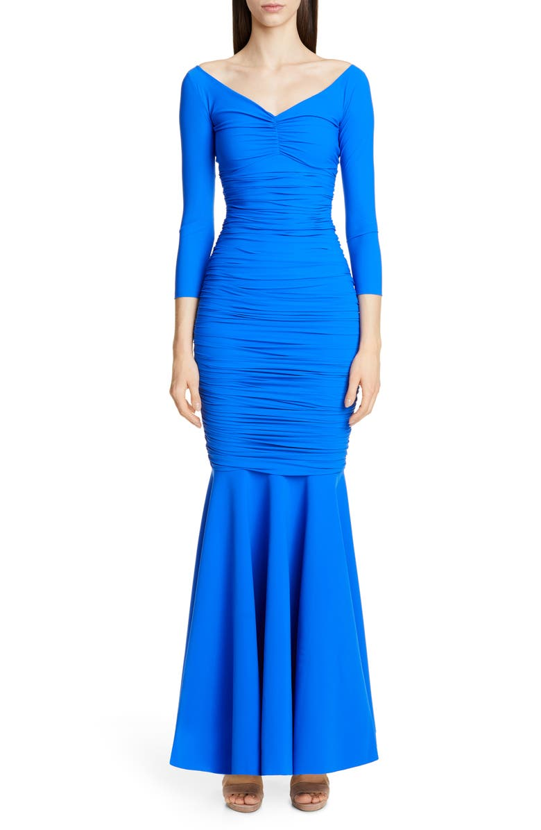 CHIARA BONI LA PETITE ROBE Zurlita Ruched Body-Con Mermaid Gown, Main, color, BLU KLEIN
