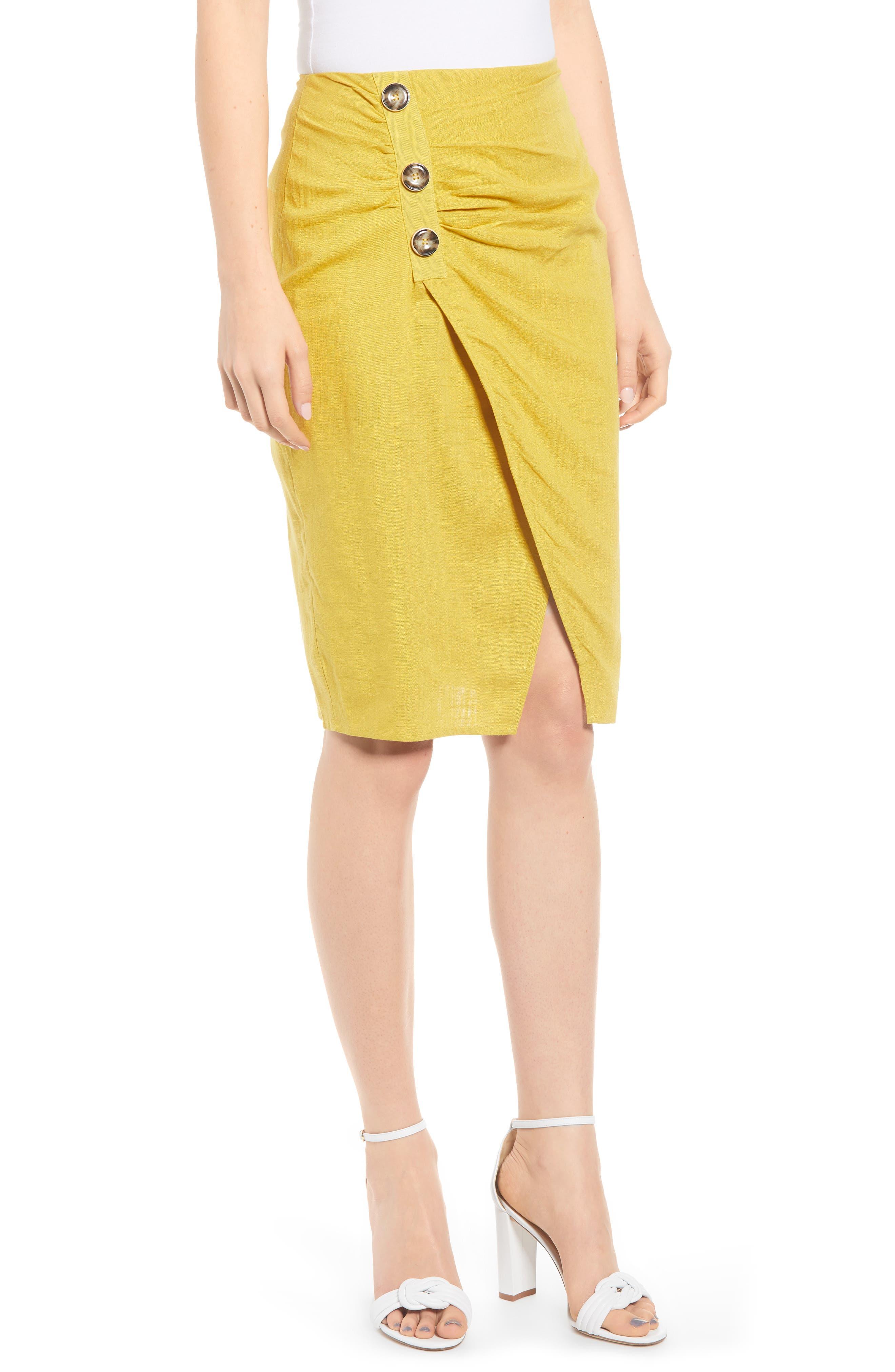 ,                             Side Button Cotton & Linen Midi Skirt,                             Main thumbnail 1, color,                             YELLOW