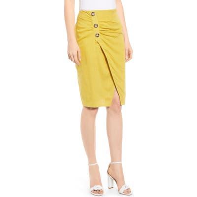 J.o.a. Side Button Cotton & Linen Midi Skirt, Yellow