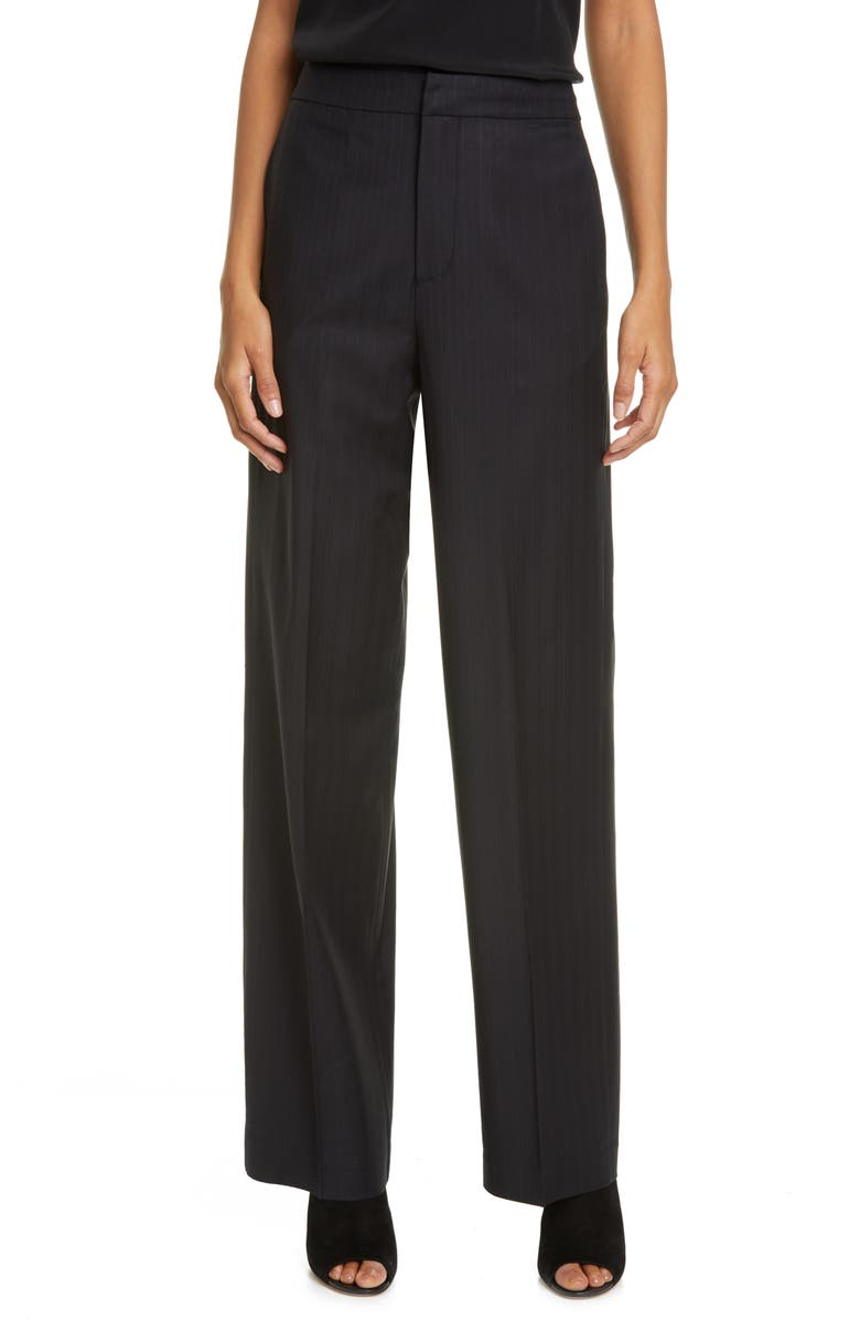CO Pinstripe Straight Leg Stretch Wool Trousers, Main, color, BLACK