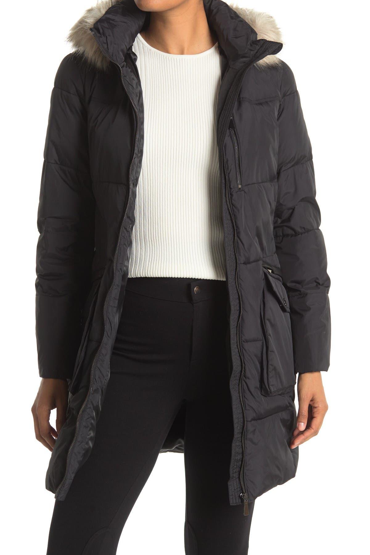 Image of DKNY Faux Fur Trim Down Coat