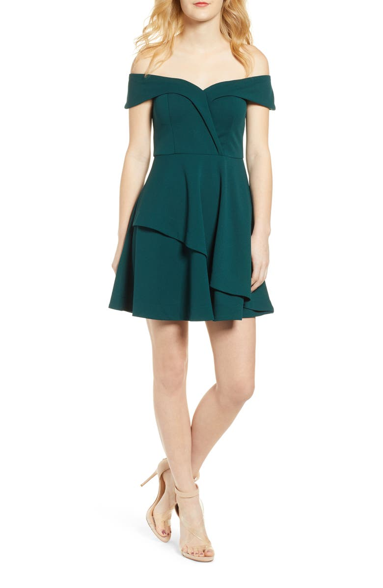 SPEECHLESS Portrait Collar Dress, Main, color, BOTTLE GREEN