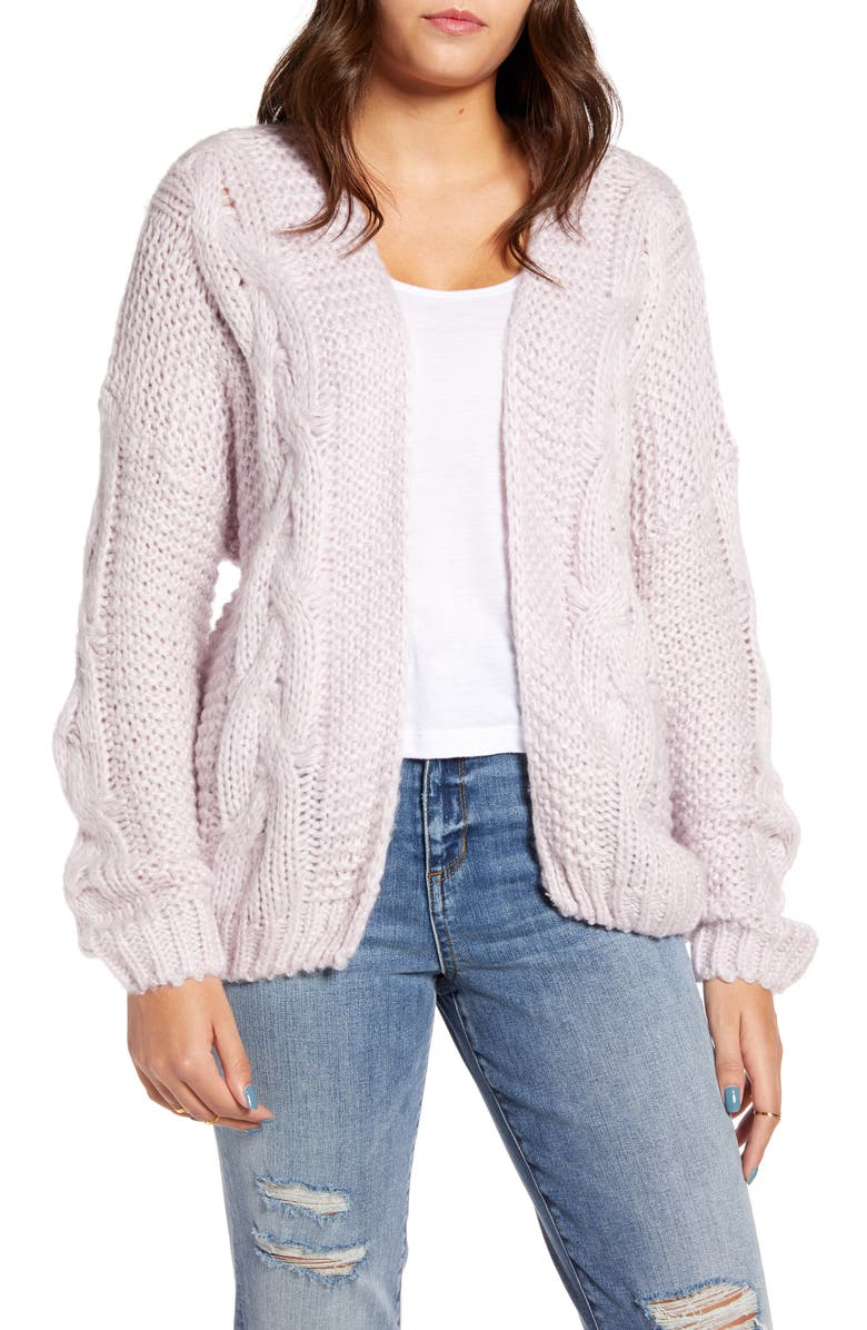 WOVEN HEART Cable Cardigan, Main, color, 500