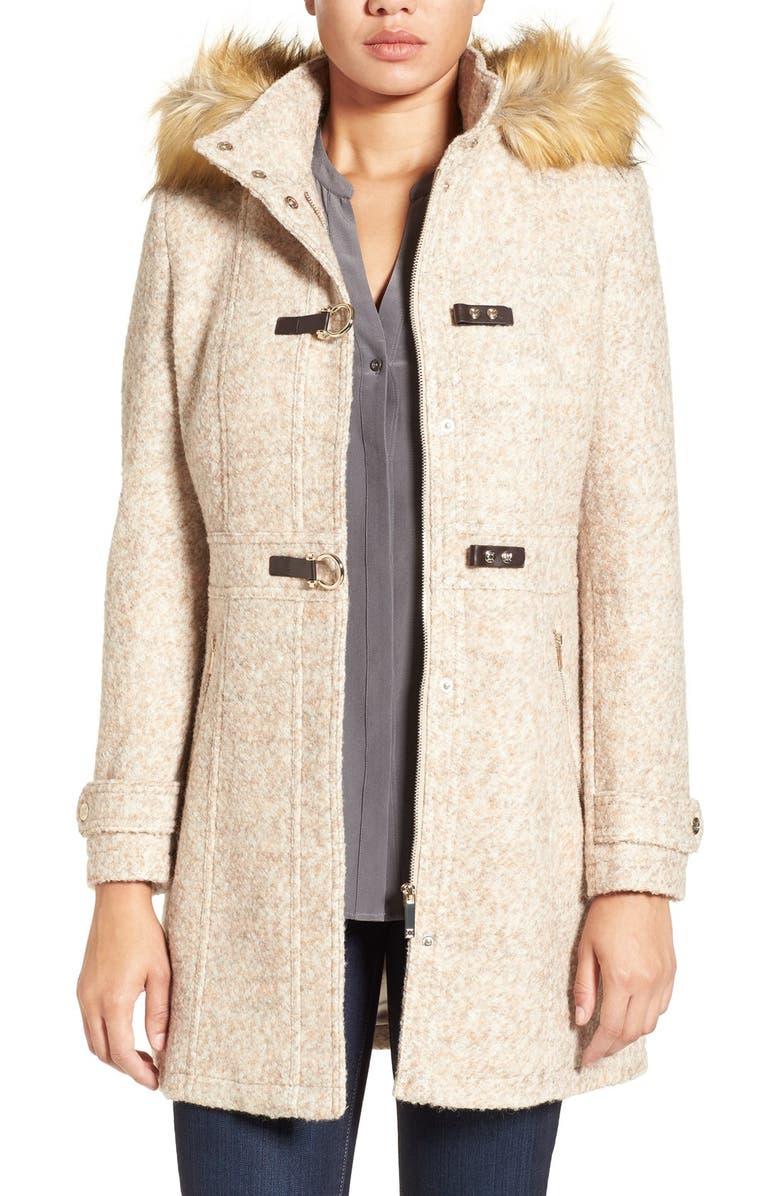 IVANKA TRUMP Hooded Toggle Coat with Faux Fur Trim, Main, color, 298