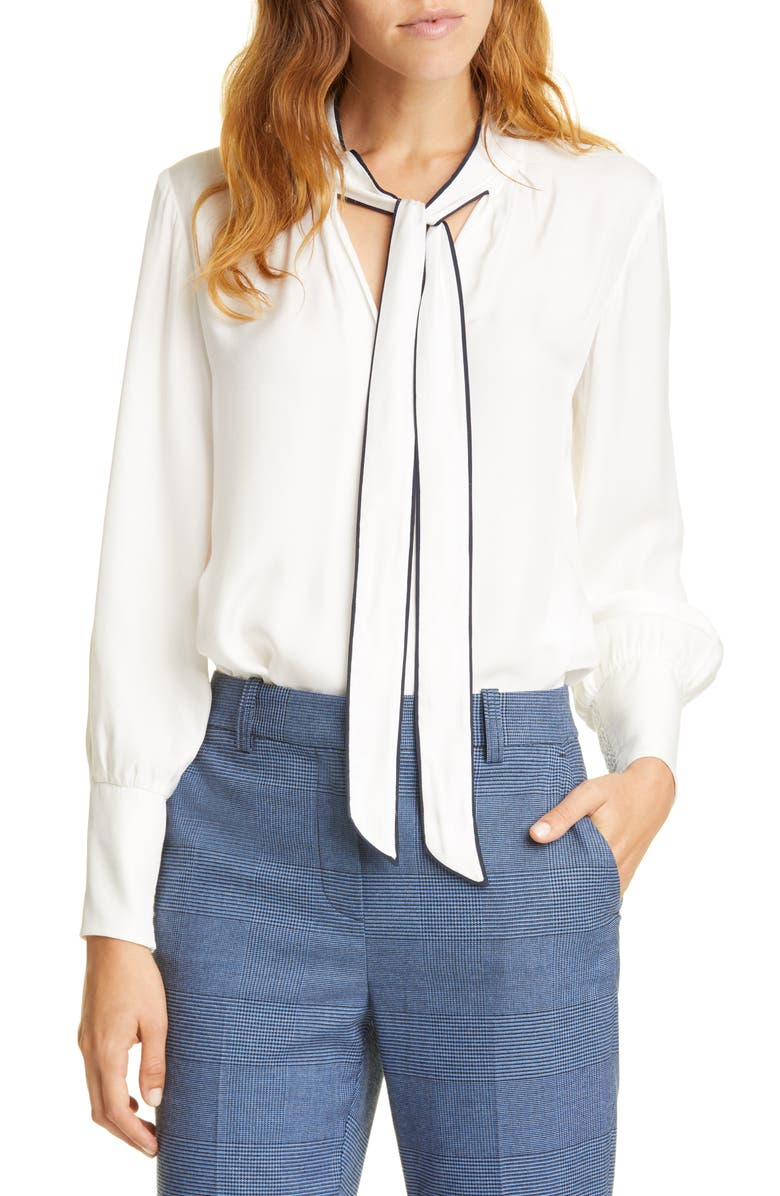 TAILORED BY REBECCA TAYLOR Tie Neck Silk Blend Top, Main, color, SNOW