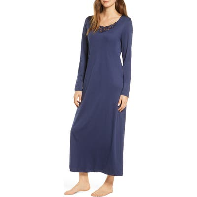 Hanro Najuma Long Sleeve Nightgown, Blue