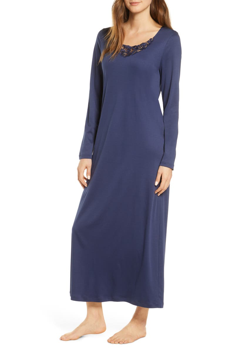 HANRO Najuma Long Sleeve Nightgown, Main, color, MIDNIGHT
