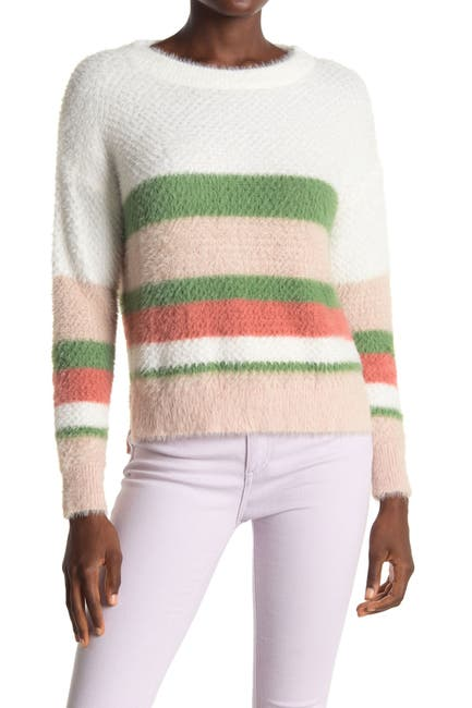 Image of ALL IN FAVOR Striped Fuzzy Knit Sweater