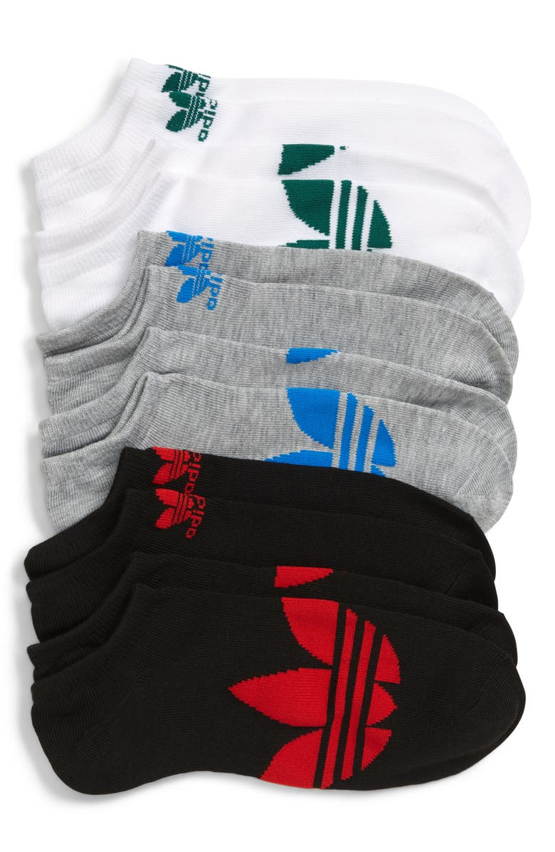 ADIDAS ORIGINALS adidas Original Trefoil 3-Pack Low-Cut Socks, Main, color, WHITE/ GREEN/ GREY/ BLUEBIRD