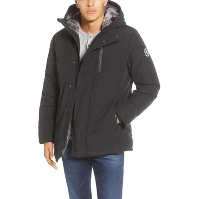 Save The Duck Faux Fur Lined Hooded Parka, Black