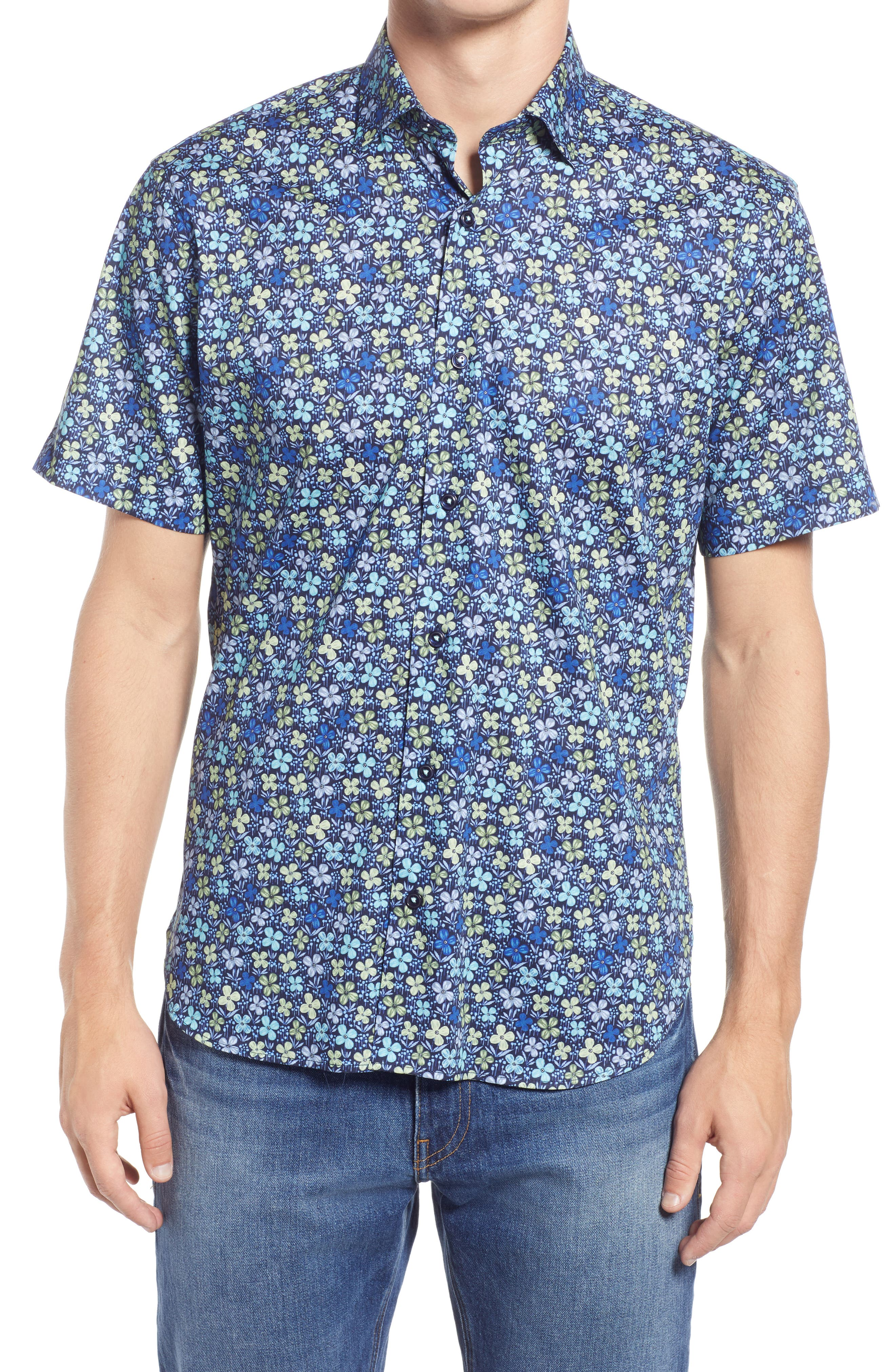 Sonoma Floral Short Sleeve Stretch Button-Up Shirt