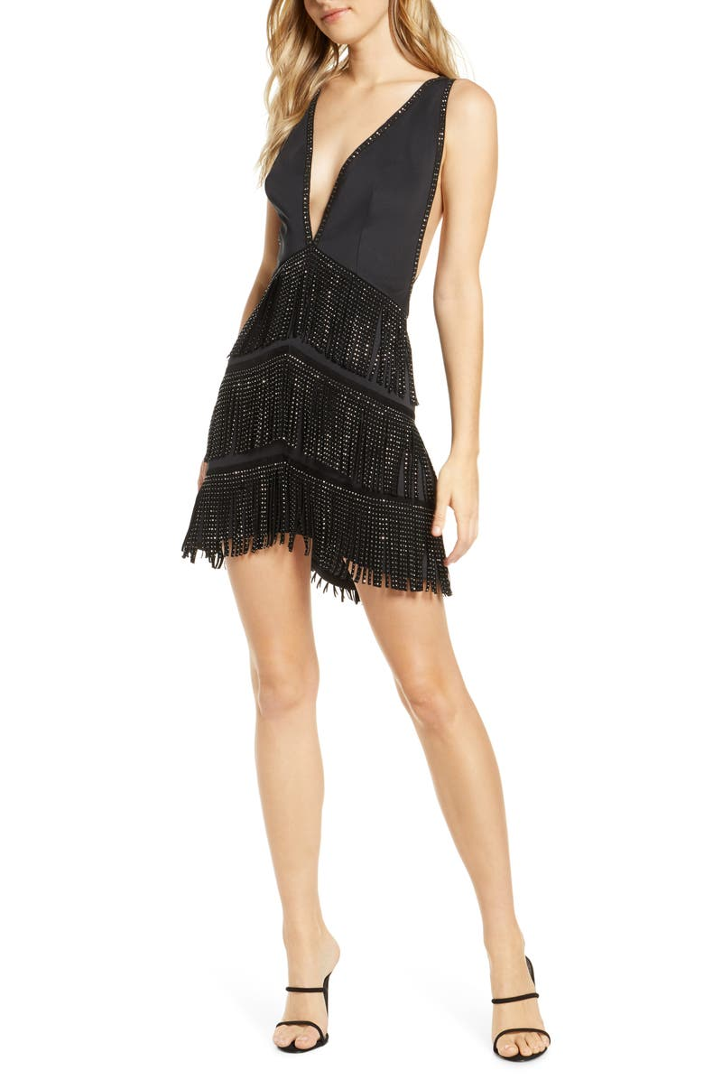 SHO Fringe Fit & Flare Dress, Main, color, BLACK/ SILVER