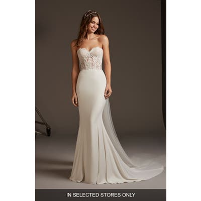 Pronovias Vela Strapless Lace & Crepe Trumpet Wedding Dress, Size - Ivory