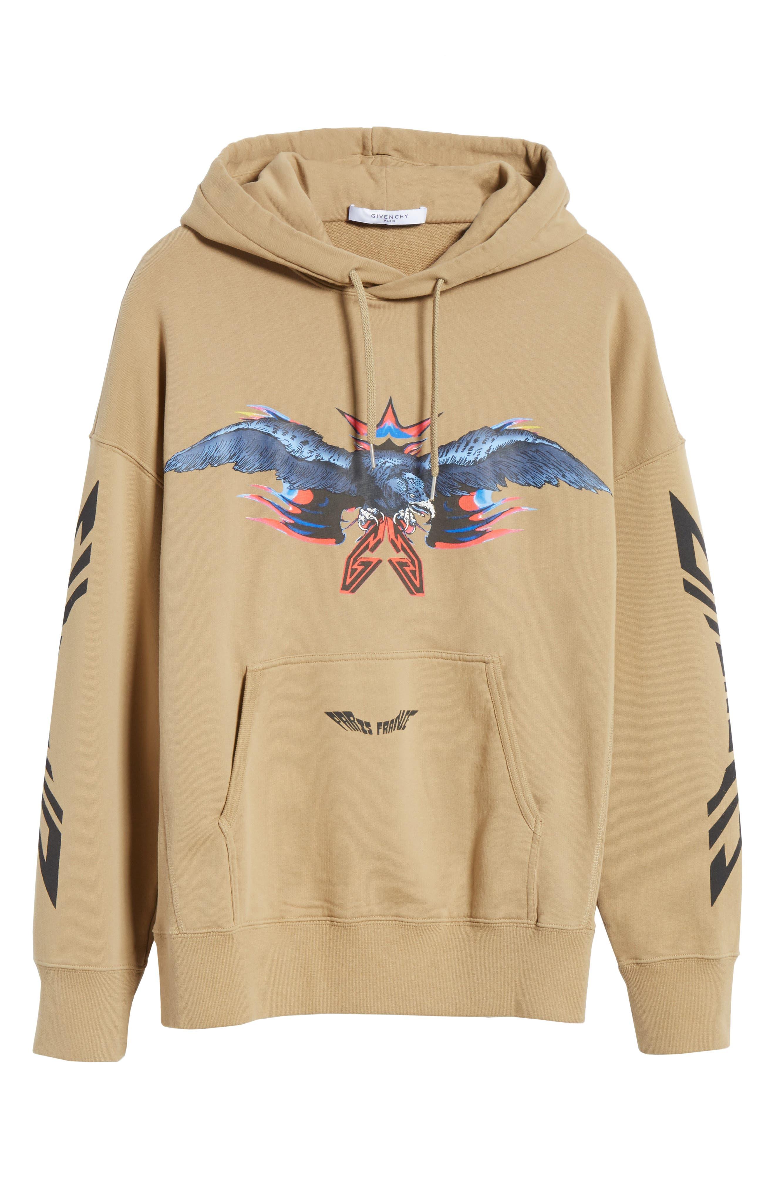 ,                             Eagle Print Hooded Sweatshirt,                             Alternate thumbnail 6, color,                             BEIGE