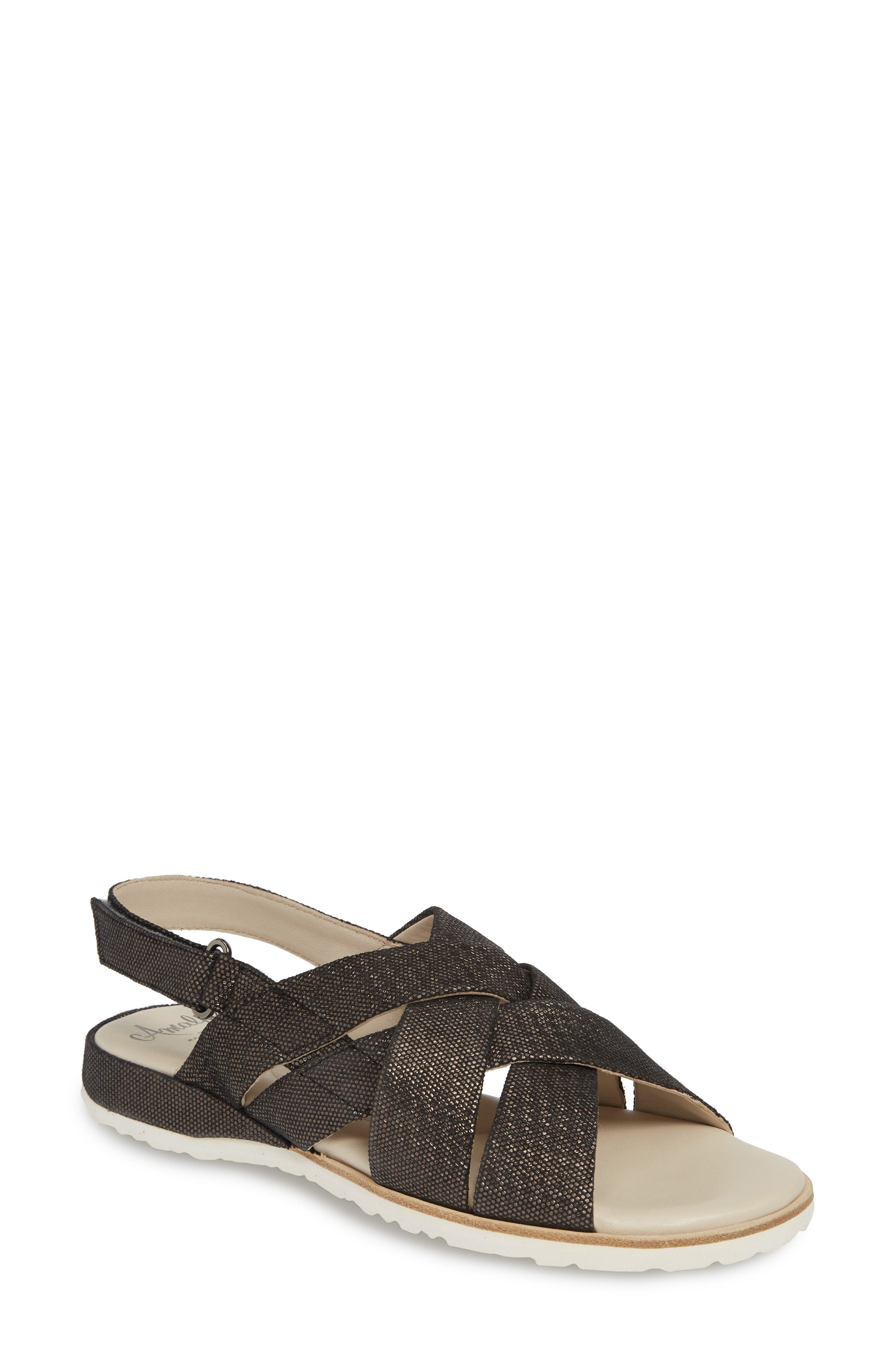 Biondina Textured Sandal, Main, color, GRAPHITE LEATHER
