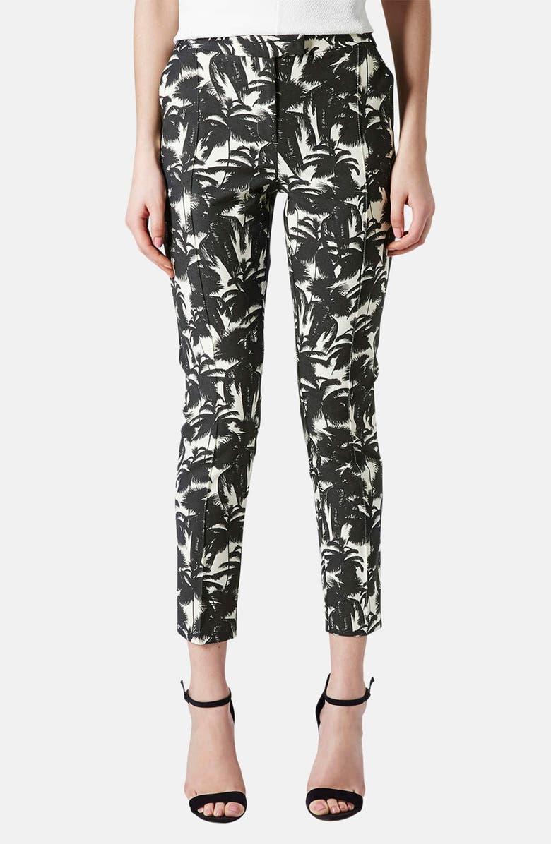 TOPSHOP Palm Print Cigarette Pants, Main, color, 002
